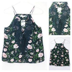 WAYF dark teal floral camisole lace neckline